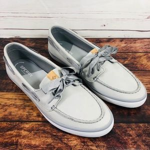 Sperry Top Sider Loafers Suede Gray Leather Sz 10